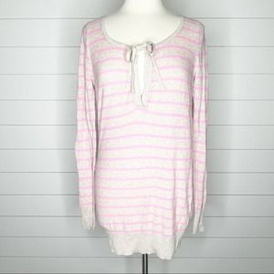 Old Navy Striped Keyhole Knit Sweater Pink Tan M